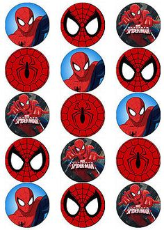 SPIDERMAN V7 SUPERHERO EDIBLE WAFER PAPER TOPPERS CUPCAKE CAKE MUFFIN FAIRY