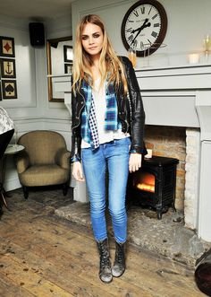 Cara Delevingne StyleChi Blue Turquoise Checked Shirt Light Blue Jeans Lace Up Boots Leather Jacket