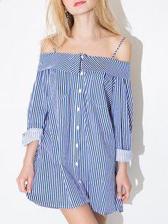 Blue Off Shoulder Stripe Button Detail Long Sleeve Cami Dress