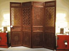 Set of Carved Wooden Panels (screens), 19th century, lacquer over wood, southern China