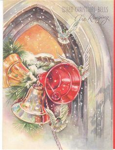 Vintage Christmas card - church bells and doves. A Doehla Fine Arts card.