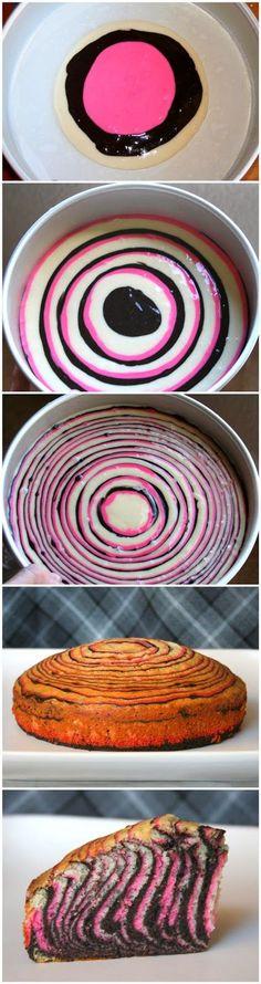 Pink & Zebra Striped Cake