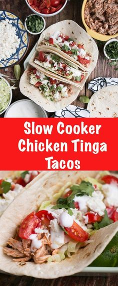 Slow Cooker Chicken Tinga Tacos – My Kitchen Love Slow Cooker Chicken Tinga Tacos are a delicious pulled chicken taco that comes together quickly in slow cooker! Best Crockpot Recipes, Best Chicken Recipes, Healthy Recipes, Delicious Recipes, Dump Recipes, Crockpot Ideas, Amazing Recipes, Turkey Recipes, Quesadillas