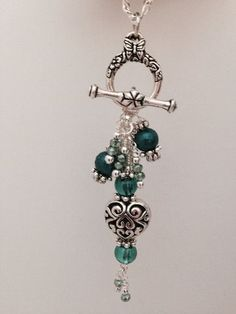 """Beautiful Handcrafted Beaded Heart Necklace. This Necklace is great because you can """"Interchange"""" the Beaded Dangle. Mix and Match Dangles with one chain."""