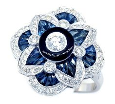 0.29 Carat Center Diamond 18K White Gold Blue Sapphire Antique Ring [RA0011]