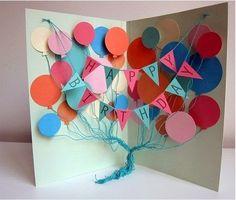 Luftballons Geburtstagskarte selber machen