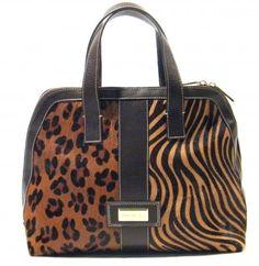 Bolsos Kastia Blu de piel con pelo print leopardo