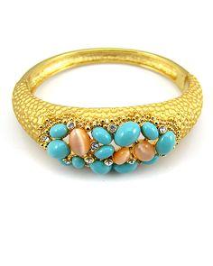 """Роскошный браслет """"Бирюза"""" в позолоте #turquoise"""