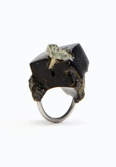 Fool's Gold Ring no.1 by Jade Mellor ~ Pyrite & Resin ~ One of a series of 5 ~ Handmade in UK
