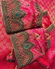 No photo description available. Hand Work Blouse Design, Simple Blouse Designs, Stylish Blouse Design, Wedding Saree Blouse Designs, Silk Saree Blouse Designs, Blouse Neck Designs, Maggam Work Designs, Hand Embroidery Designs, Hand Designs