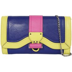 Milly Kiera Clutch in Blue/Pink/Yellow ($345) ❤ liked on Polyvore