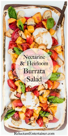 A delicious Nectarine Heirloom Burrata Salad to share at a dinner party or a light appetizer or a summery lunch. Nectarine Salad, Burrata Salad, Nectarine Recipes Healthy, Light Appetizers, Side Recipes, Necterine Recipes, Recipies, Green Salad Recipes, Dinner Party Menu