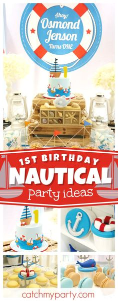 Check out this fun nautical 1st birthday party! The birthday cake is so cute!!! See more party ideas and share yours at CatchMyParty.com #1stbirthday #nautical #boybirthday