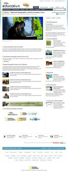 National Geographic resources supporting the common core