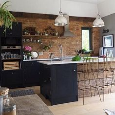 Bohemian Style Interior Design and Decor Ideas The open kitchen area is . - Bohemian Style Interior Design and Decor Ideas The open kitchen area is loaded with several wall mo - Industrial Kitchen Design, Interior Design Living Room, Brick Interior, Coastal Interior, Interior Designing, Diy Interior, Bathroom Interior, Vintage Industrial, Open Kitchen
