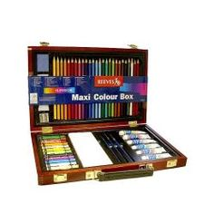 @Overstock - This Reeves wood box set features 24 colored pencils, 2 sketching pencils, a sharpener, putty rubber, sand paper, 6 watercolor tubes, 12 oil pastels, 3 brushes, and a palette. This set is packaged in a wooden box.http://www.overstock.com/Crafts-Sewing/Reeves-Maxi-Colour-Wood-Box-Set/6155146/product.html?CID=214117 $53.82