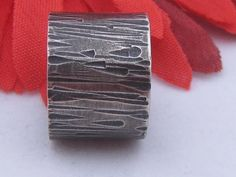 Sterling Silver Oxidised Wide Hammered Ring Handmade by ZaZing, NZ$70.00