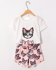 Meow star white T-shirt and casual cat head shorts two colors $24.90