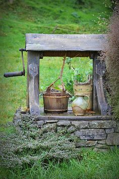 """oceanflower2015: """" Old well .. water bucket, rope pulley and all…nostalgic… """""""