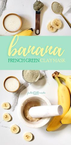 There's a bunch of reasons to mash up banana for your next face mask for glowing skin.  The combination of banana and french green clay make an excellent face mask for acne.  Cleanse deep into your pores and fight oily skin while hydrating (thanks to the banana).    #banana #diy #recipe #french #green #clay #mask #face #natural #facemask #claymask #frenchgreenclay #homemade #benefits #forwrinkles #tips #glow #acne #oily #glowing
