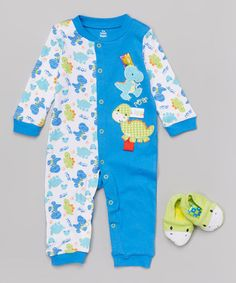 Love this Blue Dino Playsuit & Green Booties - Infant by Taggies on #zulily! #zulilyfinds