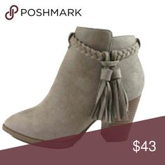 Boho Taupe Suede Braid Tassel Booties Sz 5.5-10 {PRE ORDER} Limited quantities! Beautiful boho taupe with braid tassel booties. Has zipper on the inside, vegan suede, new in box, available in Sizes 5.5, 6, 6.6, 7, 7.5, 8, 8.5, 9 or 10. No Trades. Price is firm unless bundled. 10% off 2 or more items or 20% 3 or more items. GlamVault Shoes Ankle Boots & Booties