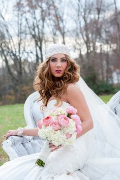 A Stylish and Glamorous Stylish Wedding Shoot with Vintage Bridal Headpiece by Janet Lanza PhotographyMelissa Hearts Weddings