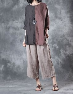 2017 Latest Fashion Color Matching Linen Clothing Summer Plus Size Tunic in Coffee Blue One Size(Regular) 2017 latest fashion color matching linen clothes summer plus size tunic too is the Fashion Colours, Colorful Fashion, Boho Fashion, Fashion Dresses, Plus Size Fashion For Summer, Plus Size Summer, How To Wear Culottes, Summer Tunics, Blouse Online