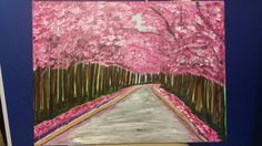 Acrylic Painting 18x24 Canvas Pink Road Save 20 % by NotableGrove