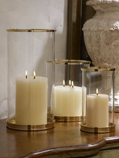 Brass Modern Hurricane - Ralph Lauren Home Decorative Accessories… Big Candles, Candle Lanterns, Candle Sconces, Home Decor Accessories, Decorative Accessories, Chandeliers, Hurricane Vase, Ralph Lauren, Living At Home