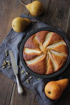 Wholewheat Pear, Olive Oil & Yoghurt Cake with Cardamom. Sweetened entirely with honey.
