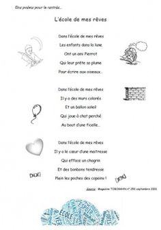 "CE1-Cycle 3 : Poésie de rentrée : ""L'école de mes rêves"" Core French, French Class, French Teaching Resources, Teaching French, Poetry Activities, Reading Activities, Cycle 3, French Songs, Beginning Of Year"