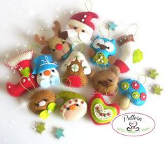 Set of Twelve Mini Christmas Ornaments Patterns PDF-Christmas