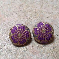 "Covered button earrings. Japanese kimono fabric. 7/8"" button base."