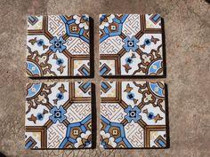 Antique floor mosaic tile architecture salvaged terracotta, French vintage tiles ceramic architectural salvage decor, jeanne d arc living. $95.00, via Etsy.