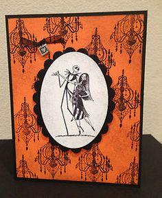 Disney Nightmare Before Christmas Jack Sally Handmade Greeting Card Orange   eBay