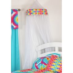 Soften up the room and add a fun and unique accent with the Terrific Tie Dye Mesh Canopy . This white mesh canopy features a colorful square pattern. Toddler Girl Bedding Sets, Toddler Bed, Mosquito Net Canopy, Kids Bed Canopy, Tie Dye Bedding, Nursery Furniture Sets, Nursery Decor, One Bed, Canopy Design