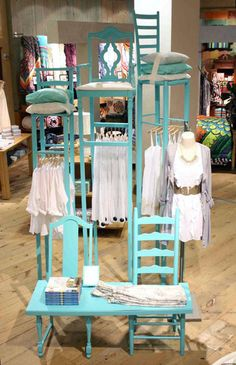 Anthropologie Lounge Concept Display & Fixture - chairs and tables made into shelf display Shop Window Displays, Store Displays, Display Windows, Retail Displays, Shop Windows, Furniture Makeover, Diy Furniture, Furniture Movers, Furniture Store Display
