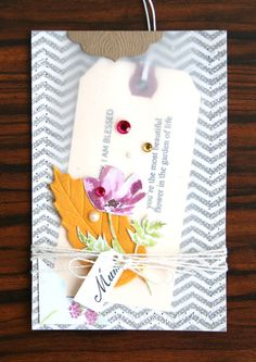 Mother's Day Card: Love the vellum pocket with tag!! by Pearl Lui for SEI Lifestyle