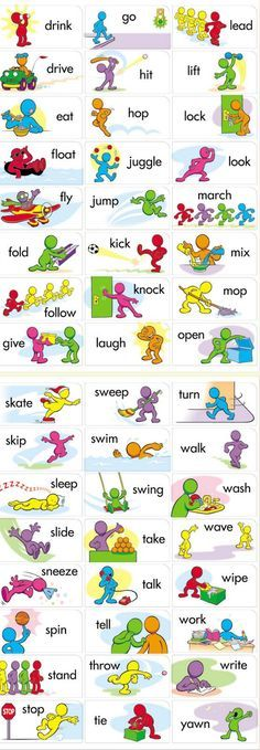 Printable verbs for flashcards / fluency in English vocabulary. Can be used for gamification to consolidate knowledge. English Time, English Verbs, Kids English, English Study, English Class, English Lessons, English Grammar, English Speaking For Kids, Learning English For Kids