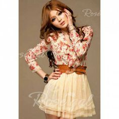 Sweet Bow Collar Floral Print Splicing Voile Women's Spring Dress(With Belt)Print Dresses | RoseGal.com