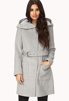 No-Fuss Wool-Blend Coat w/ Belt | Forever 21 - 2000050396