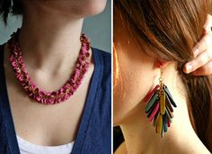 colorful hand-cut leather jewelry