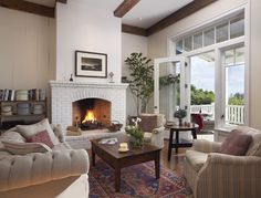 LIVING ROOM & FAMILY ROOM – traditional - living room - santa barbara - Tom Meaney Architect, AIA