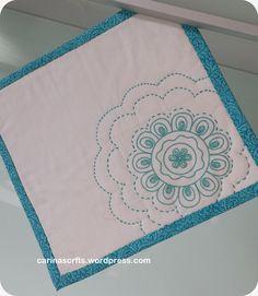 snack mat, mug rug, hand stitched, more on blog www.carinascrafts.wordpress.com