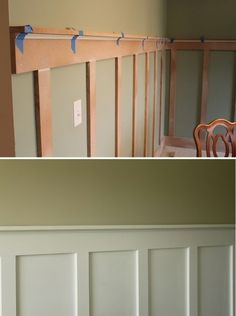 Illustrates addition of wainescoting under chair rail, painted white with color above