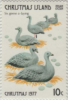 ◙ Christmas Island, Postage Stamp, The Twelve Days of Christmas, Geese a-Laying. ◙
