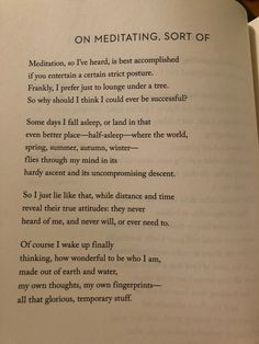 Mary Oliver, On Meditating, Sort Of Pretty Words, Beautiful Words, Cool Words, Wise Words, Mary Oliver Quotes, Writing Words, Poem Quotes, Favorite Quotes, Quotations