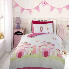 This Fairy Castle Single Duvet Cover set is perfect for any little one who loves all things pink and girlie. The pretty design features a floral fairy castle, with lots of cute fairies fluttering above it.Duvet Cover Dimensions: x Green Duvet Covers, Double Duvet Covers, Full Duvet Cover, Single Duvet Cover, Comforter Cover, Duvet Cover Sets, Quilt Cover, Bed Sets, Duvet Sets