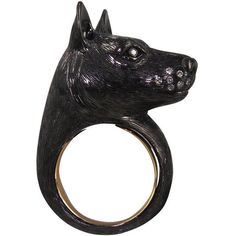 Nisan Silver & 18K Gold Dog Ring ($2,400) ❤ liked on Polyvore featuring jewelry, rings, heart shaped rings, 18 karat gold ring, black silver ring, heart ring and gold rings